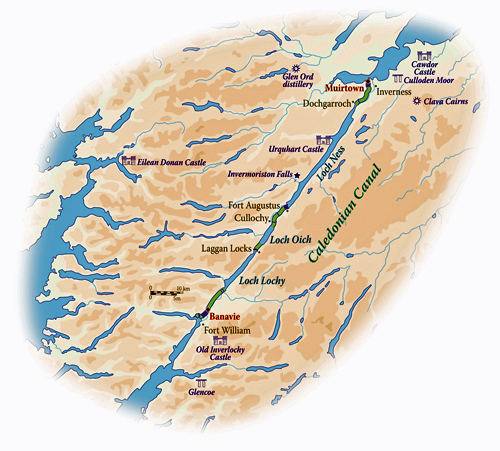 MAP Scottish Highland Caledonian Canal Barge Cruise