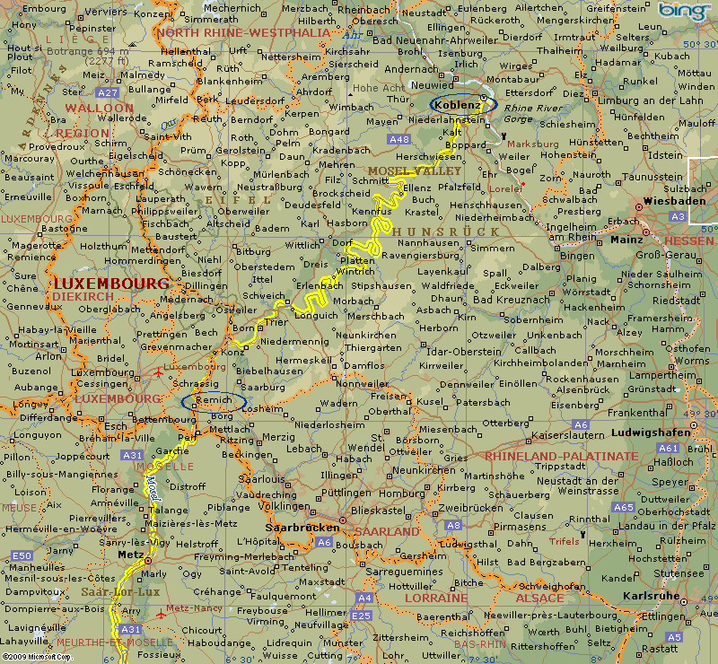 Map of Mosel River Koblenz to Remich Hotel Barges www.BargeCharters.com